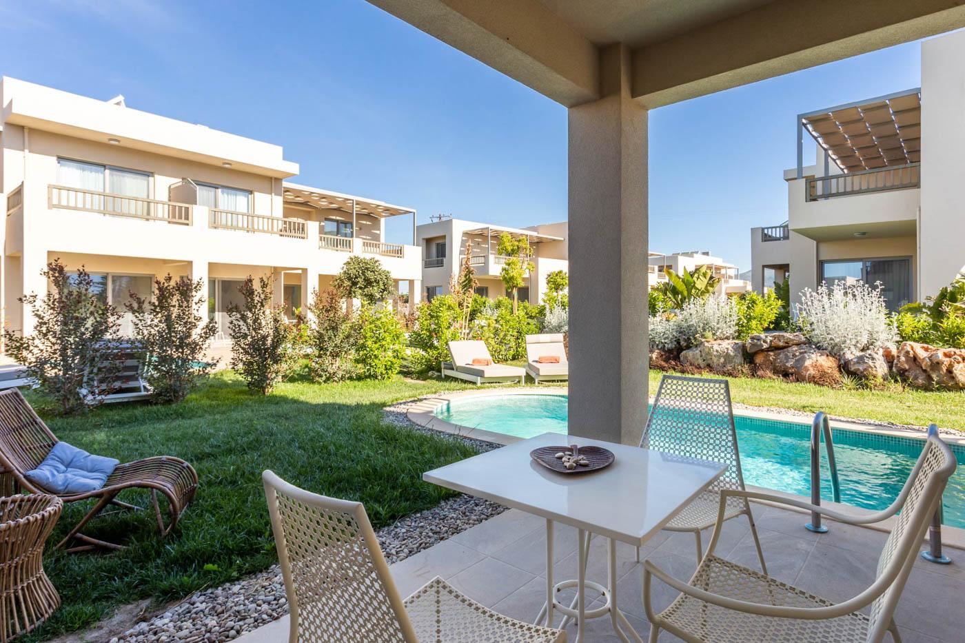 Elysian luxury hotel and spa Kalamata outside personal pool