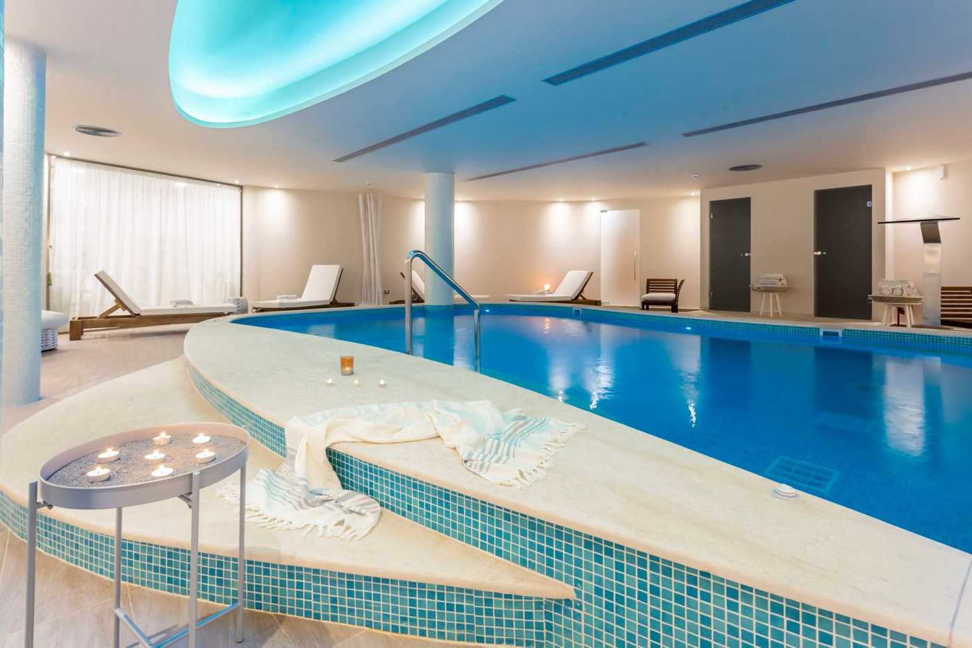Elysian luxury hotel and spa Kalamata inside pool and spa