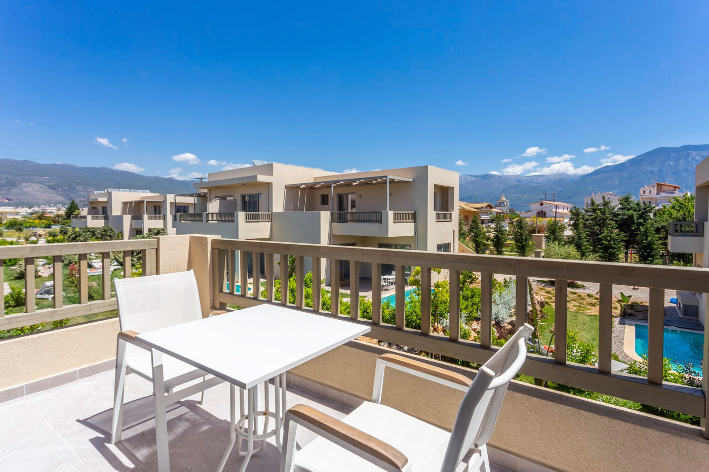 Elysian luxury hotel and spa Kalamata superior room terrace with a view