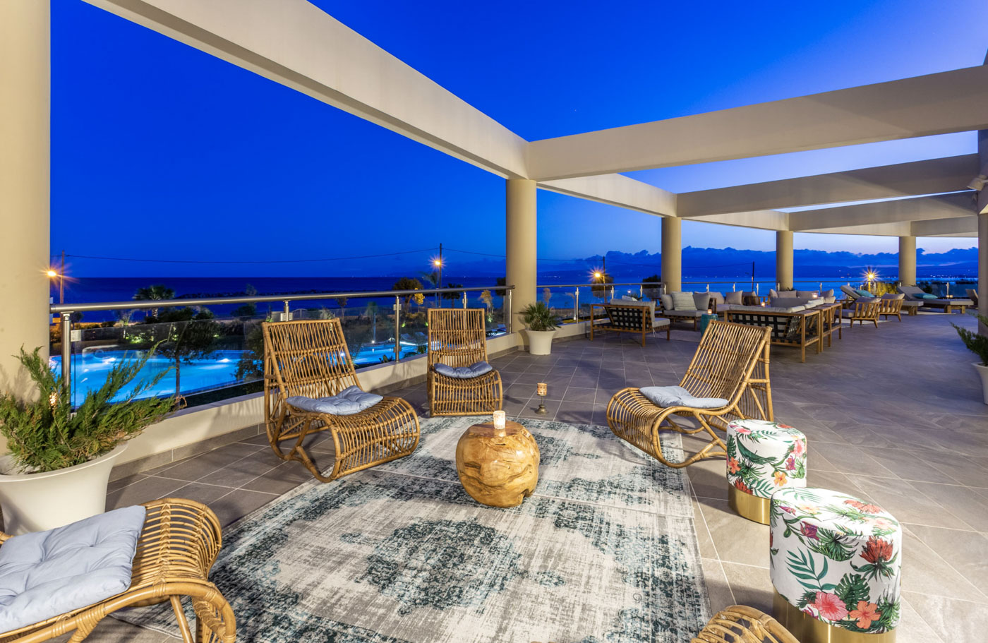 Elysian luxury hotel and spa Kalamata relax zone chairs evening
