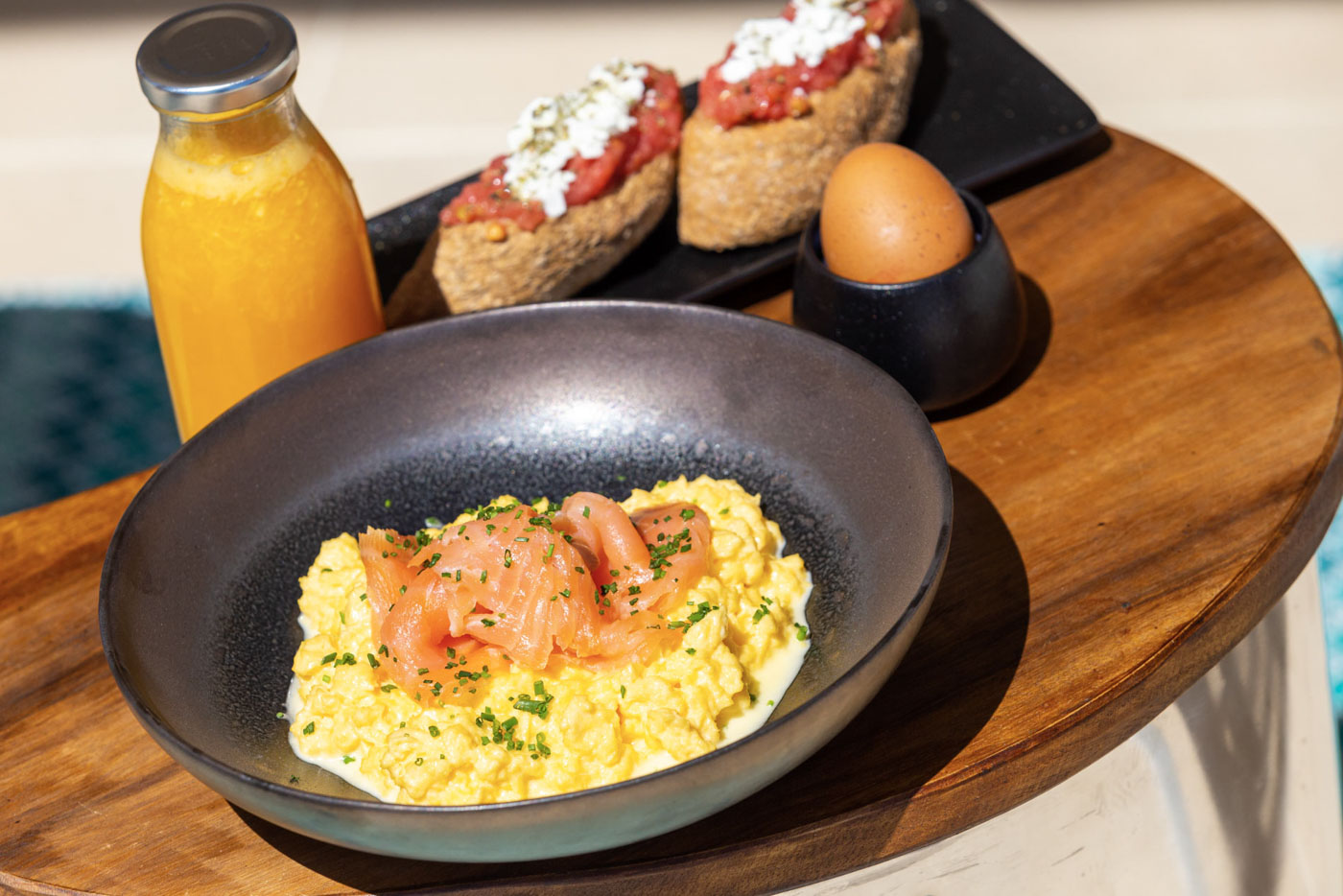 Elysian luxury hotel and spa Kalamata breakfast with eggs