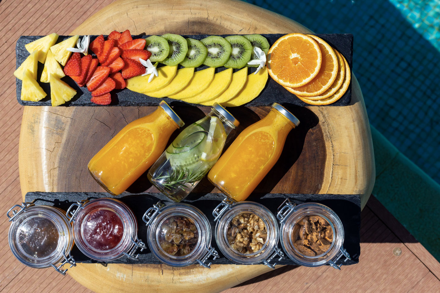 Elysian luxury hotel and spa Kalamata breakfast with fruits and juices