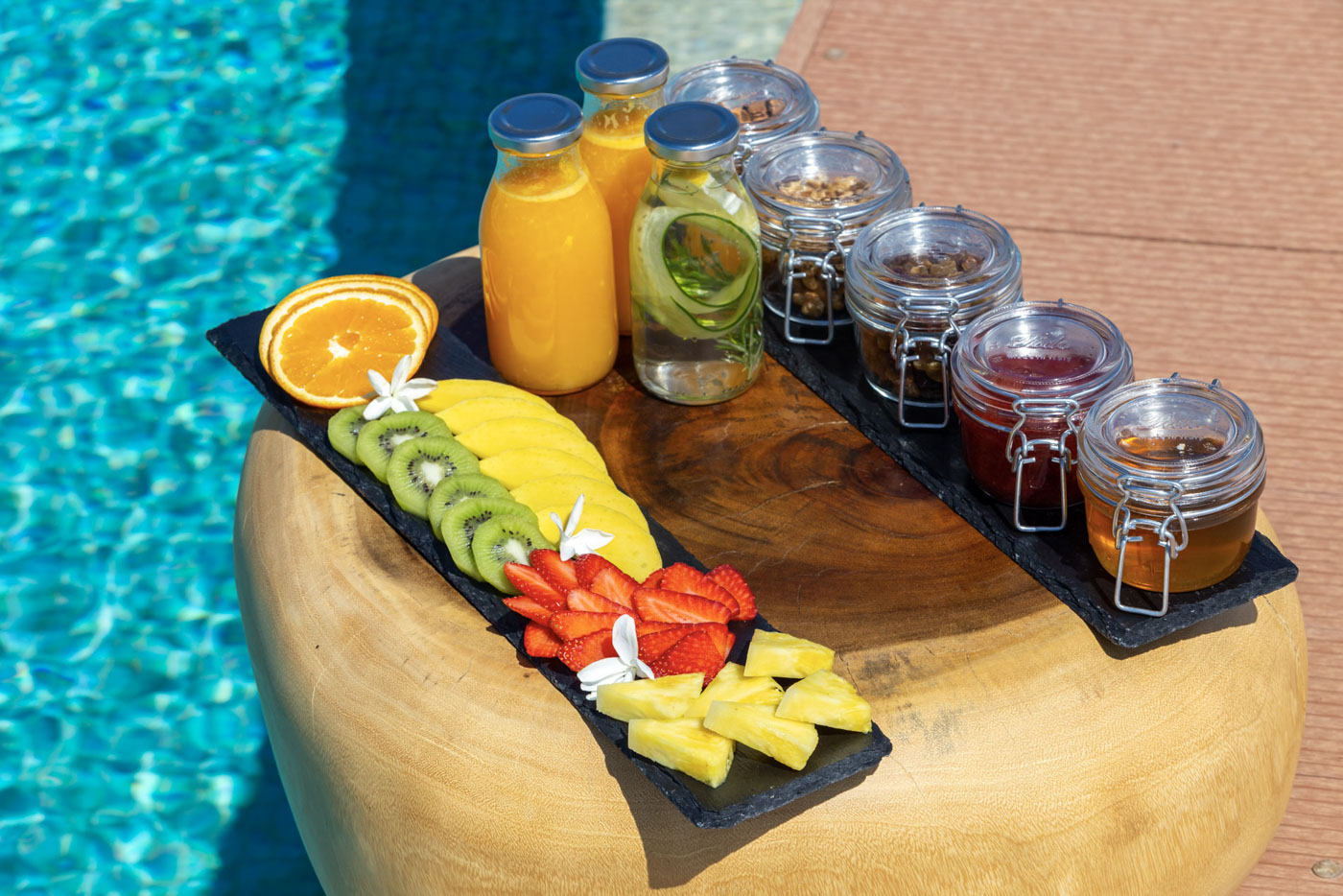 Elysian luxury hotel and spa Kalamata breakfast with fruits and jam
