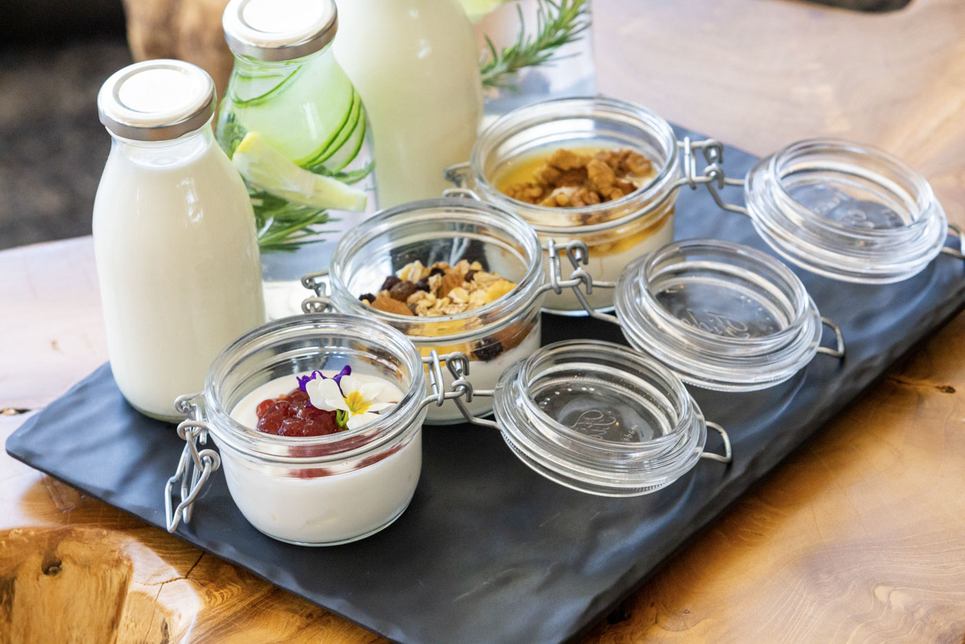 Elysian luxury hotel and spa Kalamata breakfast with yogurt