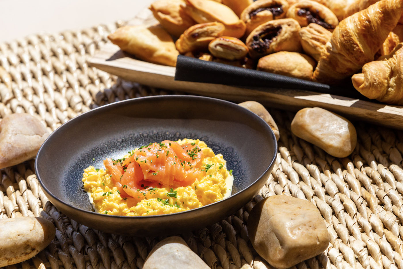 Elysian luxury hotel and spa Kalamata breakfast with scrambled eggs